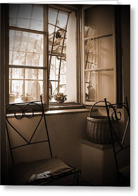 Vintage Interior With A Wooden Framed Window Greeting Card