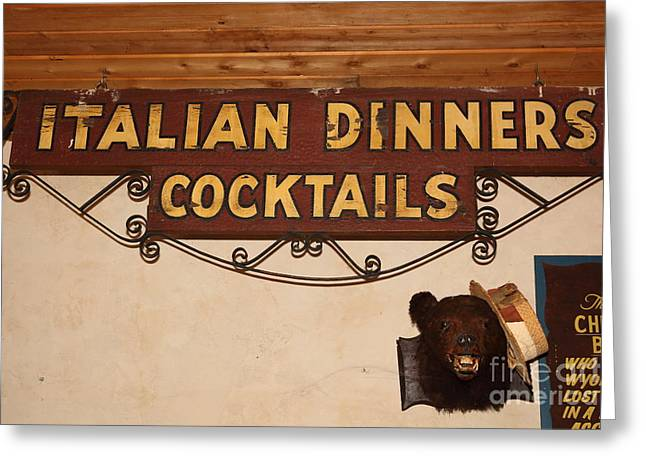 Vintage Italian Dinners Cocktails Sign In The Cellar Room At The Swiss Hotel In Sonoma California 5d Greeting Card