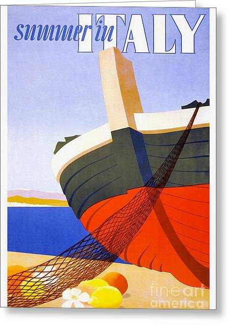 Vintage Italy Travel Poster Greeting Card