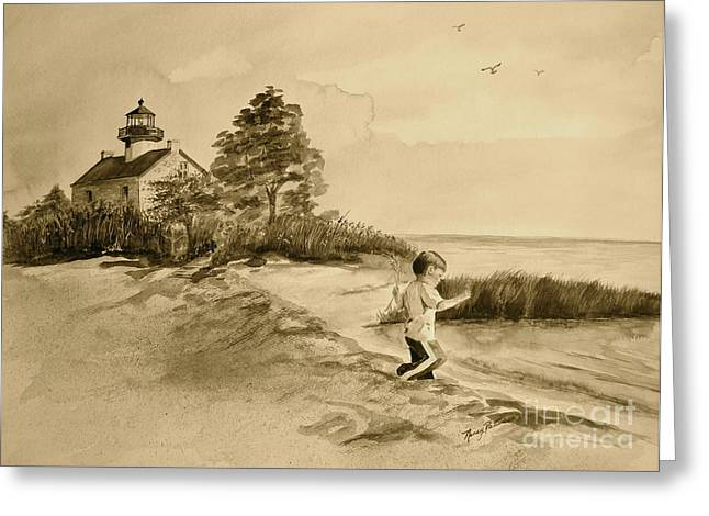 Vintage Jacob At East Point  Greeting Card by Nancy Patterson
