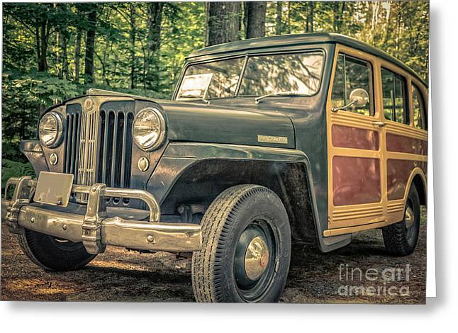 Vintage Jeep Station Wagon Greeting Card