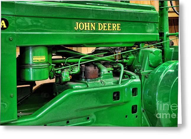 Vintage John Deere Tractor Greeting Card by Paul Ward