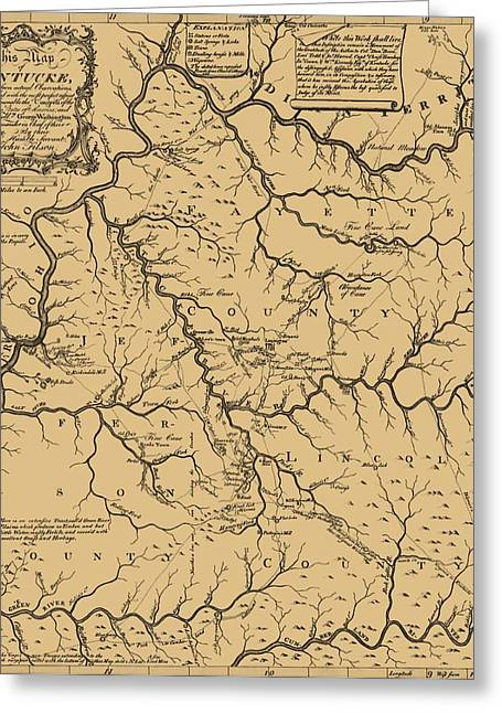 Vintage Kentucky Map Greeting Card by Dan Sproul