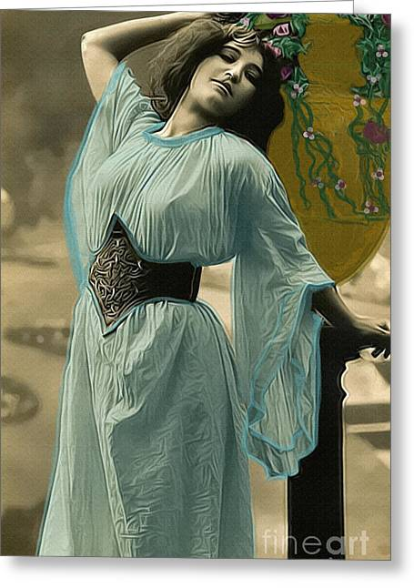 Vintage Lady With Urn Greeting Card by Lesa Fine