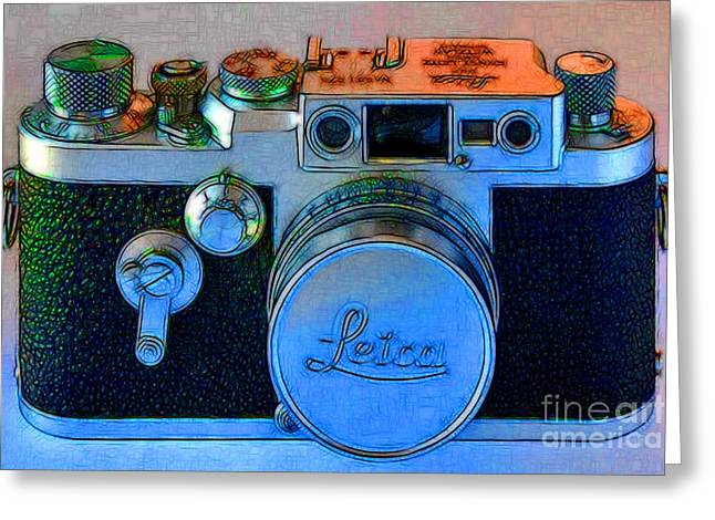 Vintage Leica Camera - 20130117 - V1 Greeting Card by Wingsdomain Art and Photography