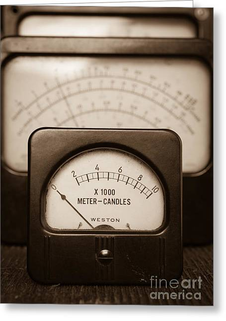 Vintage Light Meter Greeting Card by Edward Fielding
