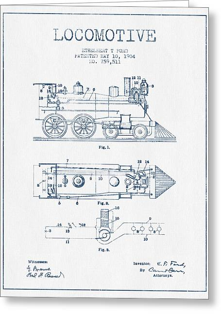 Vintage Locomotive Patent From 1904  -  Blue Ink Greeting Card
