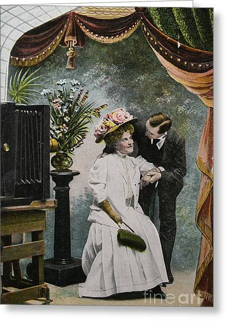Vintage Love In A Photo Studio Greeting Card by Patricia Hofmeester