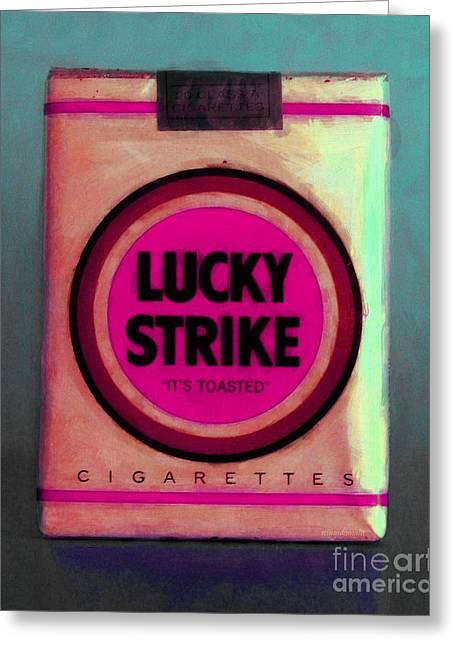 Vintage Lucky Strike Cigarette - Painterly - V2 Greeting Card by Wingsdomain Art and Photography