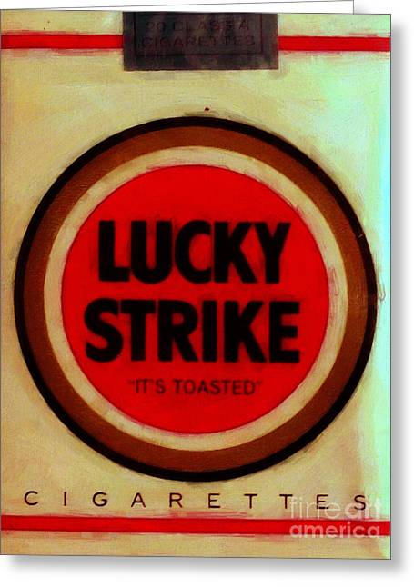 Vintage Lucky Strike Cigarette - Painterly - V3 Greeting Card by Wingsdomain Art and Photography