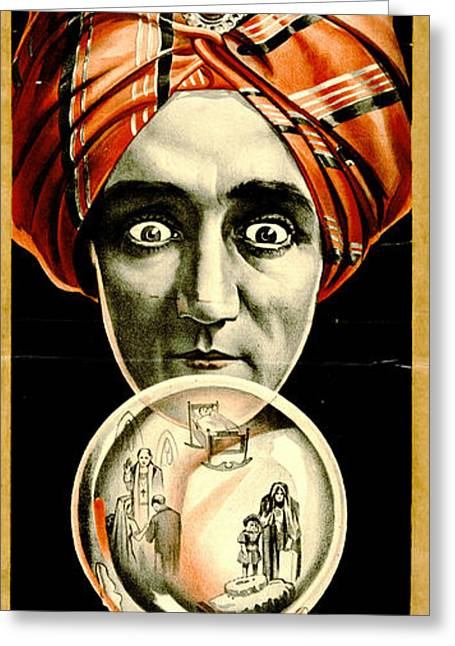 Vintage Magicians Playbill 1910 Greeting Card by Padre Art