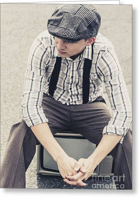 Vintage Male Fashion Model On Tv Greeting Card by Jorgo Photography - Wall Art Gallery