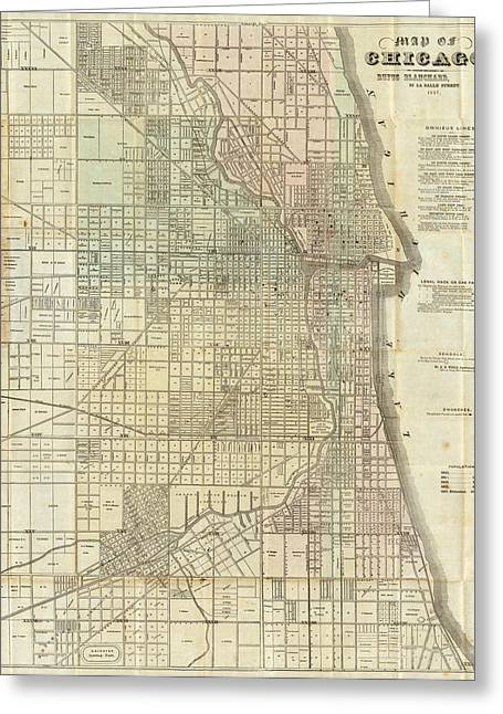 Vintage Map Of Chicago - 1857 Greeting Card