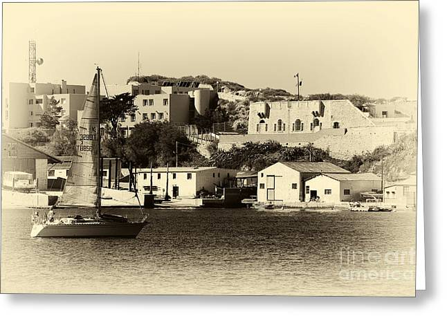 Vintage Marseille Sailing Greeting Card by John Rizzuto