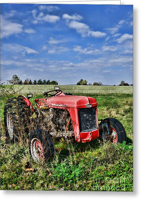 Vintage Massey-ferguson Tractor Greeting Card by Paul Ward