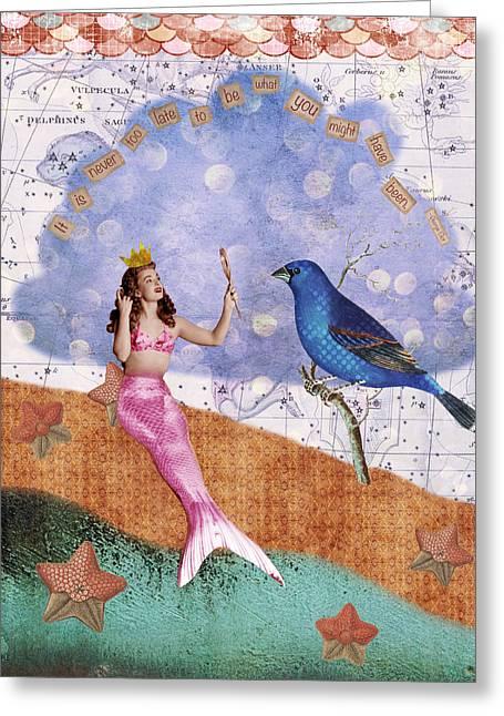 Vintage Mermaid Bird Collage Greeting Card