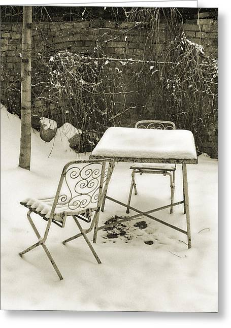 Vintage Metal Chairs Covered With Snow Greeting Card