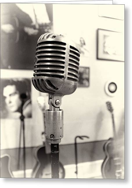 Vintage Microphone Sun Studio Greeting Card