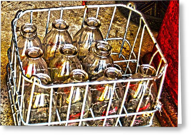 Greeting Card featuring the photograph Vintage Milk Bottles In A Crate   by Lesa Fine