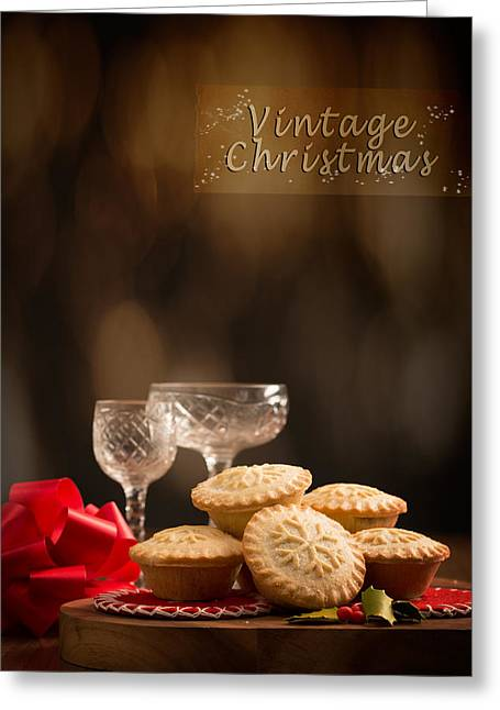 Vintage Mince Pies Greeting Card by Amanda Elwell
