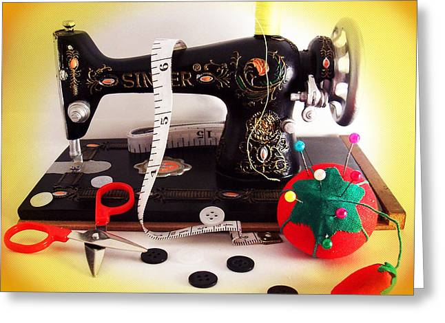 Vintage Mini Sewing Machine Greeting Card