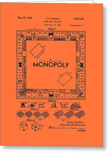 Vintage Monopoly Game Patent Greeting Card by Mountain Dreams