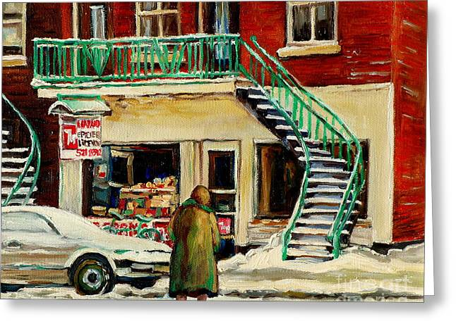 Vintage Montreal Art Verdun Depanneur Winter Scene Paintings Staircases And 7up Signs Carole Spandau Greeting Card by Carole Spandau