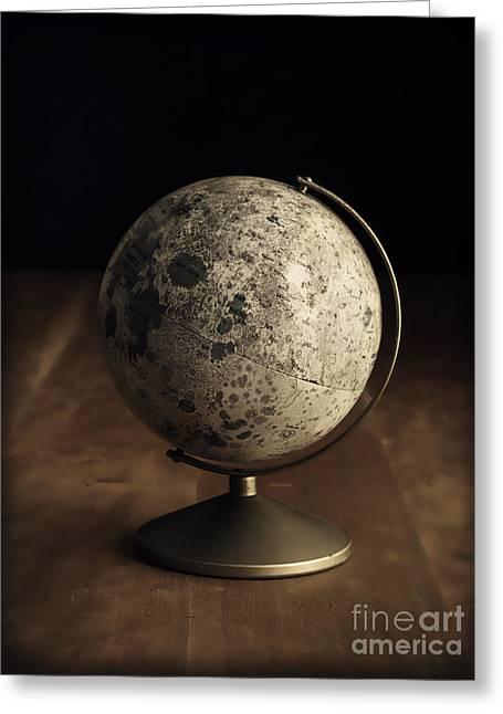 Vintage Moon Globe Greeting Card by Edward Fielding