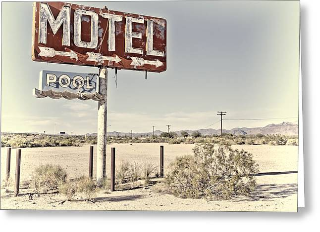 Vintage Motel Pool Sign Greeting Card