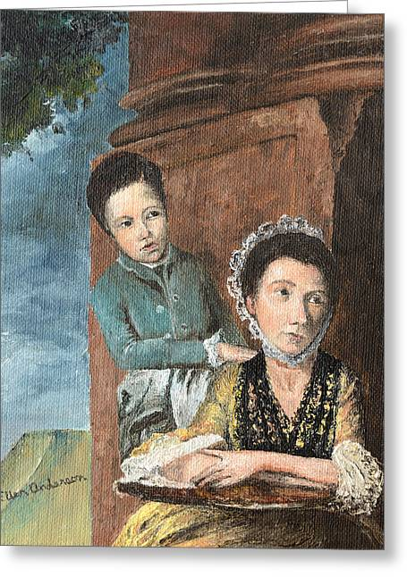 Greeting Card featuring the painting Vintage Mother And Son by Mary Ellen Anderson