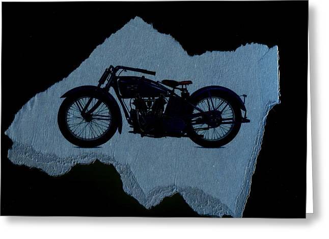 Vintage Motorcycle Greeting Card by David Ridley