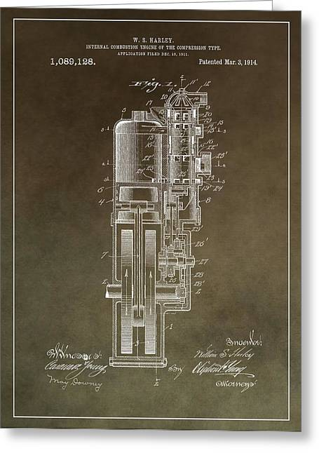 Vintage Motorcycle Engine Patent Greeting Card