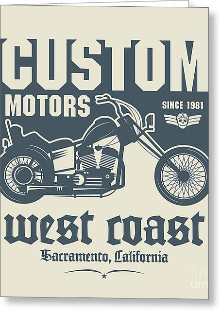 Vintage Motorcycle Label Or Poster Greeting Card by Astudio