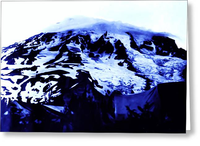 Greeting Card featuring the photograph Vintage Mount Rainier At Twilight Early 1900 Era... by Eddie Eastwood