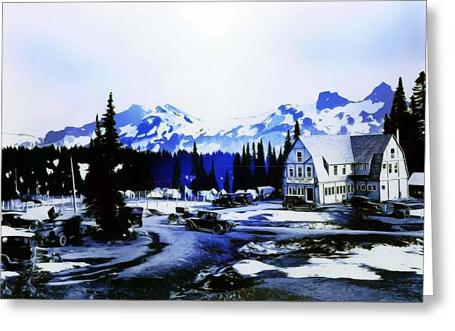 Greeting Card featuring the photograph Vintage Mount Rainier Camp And Store Supplies Early 1900 Era... by Eddie Eastwood