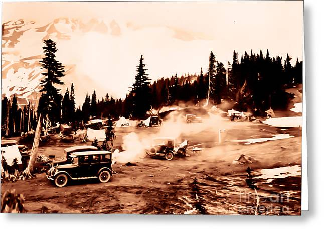Greeting Card featuring the photograph Vintage Mount Rainier Cars And Camp Grounds Early 1900 Era... by Eddie Eastwood
