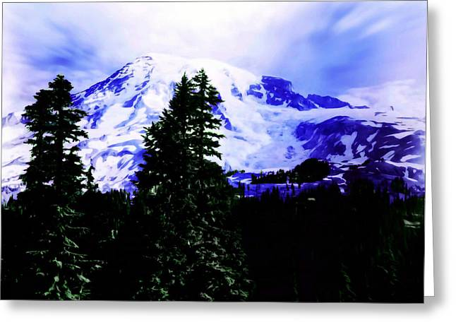 Vintage Mount Rainier From Pinnacle Peak Early 1900 Era... Greeting Card by Eddie Eastwood