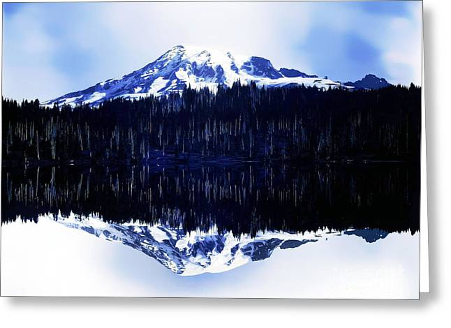 Greeting Card featuring the photograph Vintage Mount Rainier From Reflection Lake Early 1900 Era... by Eddie Eastwood
