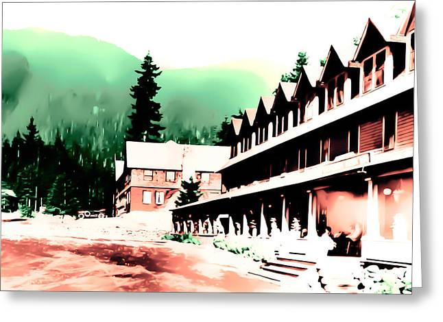 Greeting Card featuring the photograph Vintage Mount Rainier National Park Inn Early 1900 Era... by Eddie Eastwood