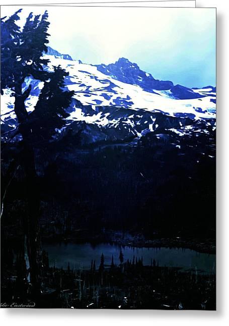 Vintage Mount Rainier With Reflexion Lake Early 1900 Era... Greeting Card by Eddie Eastwood
