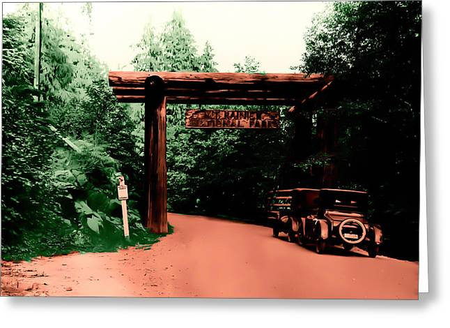 Greeting Card featuring the photograph Vintage Mt.rainier National Park Entrance Early 1900 Era... by Eddie Eastwood