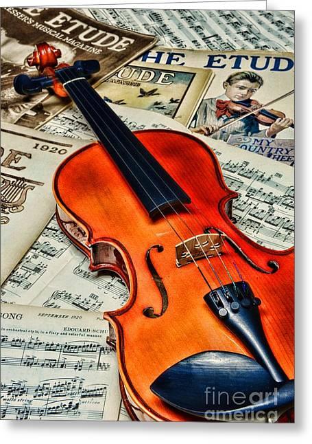 Vintage Music And Violin Greeting Card by Paul Ward