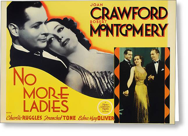 Vintage No More Ladies Movie Poster Greeting Card by Mountain Dreams