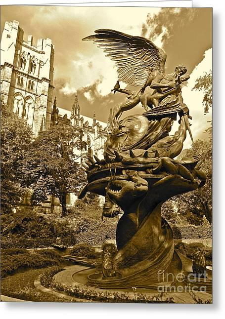 Vintage Of St. John The Divine Greeting Card by Maritza Melendez