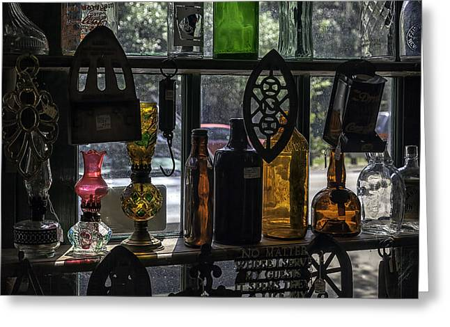 Vintage Oil Lamps And Bottles Greeting Card by Lynn Palmer