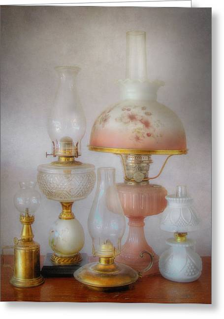 Vintage Oil Lamps Greeting Card by David and Carol Kelly