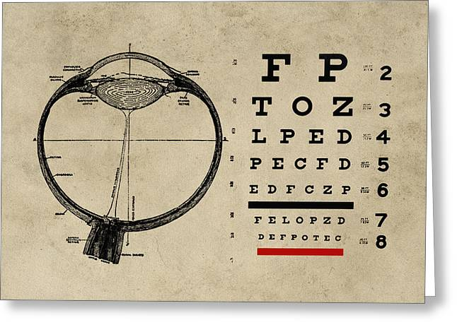 Vintage Ophthalmologist Eye Chart Greeting Card