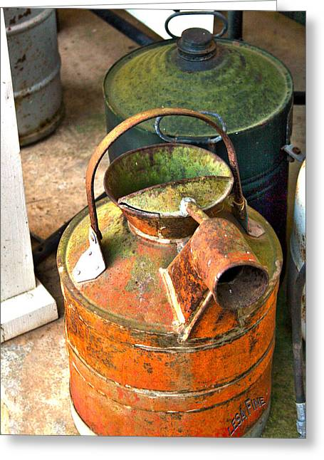 Greeting Card featuring the photograph Vintage Orange And Green Galvanized Containers by Lesa Fine