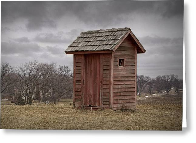 Vintage Outhouse Behind A Historical Country School In Southwest Michigan Greeting Card by Randall Nyhof