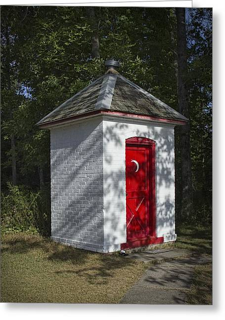 Vintage Outhouse Behind The Historical Sturgeon Point Lighthouse In Michigan Greeting Card by Randall Nyhof